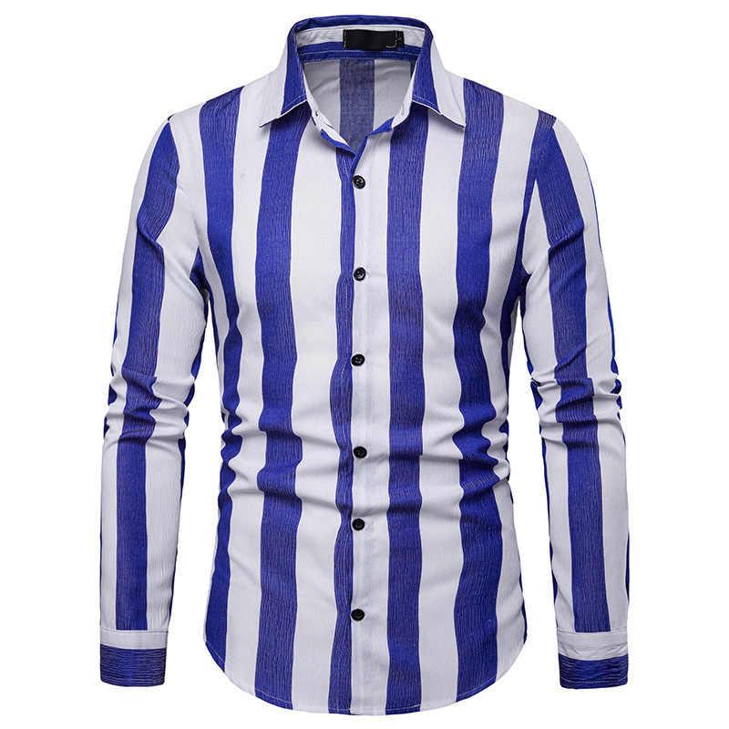 Модные черный, белый цвет Рубашка в полоску Для мужчин 2019 новые весенние Для мужчин s Повседневное пуговицах мужская классическая рубашка Slim Fit рубашка с длинными рукавами сорочка