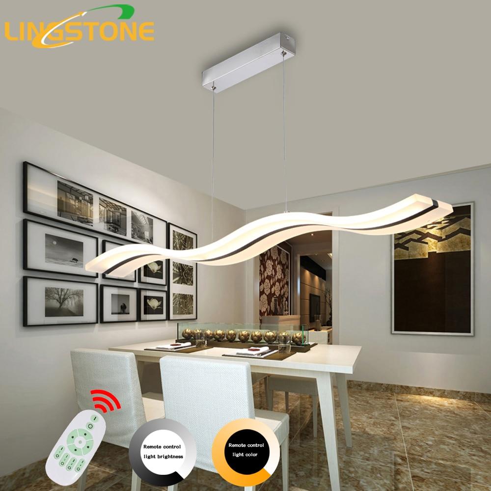 Moderne Led Kronleuchter Esszimmer Wohnzimmer Acryl Lampe Hause Beleuchtung Welle Form Dimmen Leuchten Leuchte