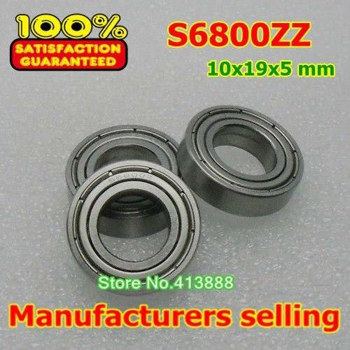 10 шт./лот высокого качества ABEC-3 Z2V2 SUS440C нержавеющей стали шарикоподшипники S6800ZZ 10*19*5 мм