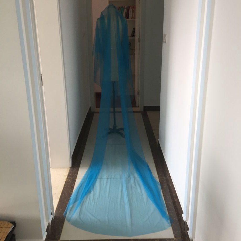 118 Train Blue Long Wedding Veils With Blusher 3 Meter Bridal Customized Cathedral Cut Edge 2017 New In From Weddings