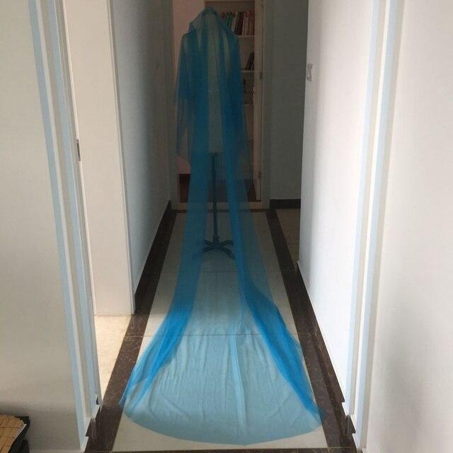 "118"" Train Blue Long Wedding Veils With Blusher 3 Meter Bridal Veils Customized Cathedral Wedding Veils Cut Edge 2017 New"