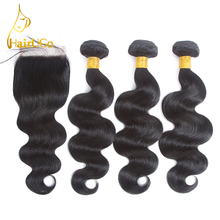 HairBuy Brazilian Hair Pre-Colored Hair With Closure Body Wave 100% Human Hair 3 Bundles With Closed Non-Remy Nature Color