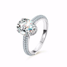 Luxury 5 ct Big Oval Cut AAA Zircon Ring with Micro Paved CZ for Women Fashion Jewelry Female Rings Sterling Silver