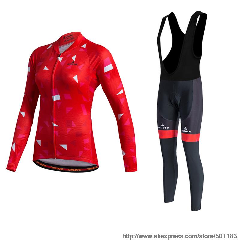 Brand new Miloto women Female Autumn Cycling Jersey Breathable Waist Ropa Ciclismo Bike Sweat Clothing Maillot Bicycle Black