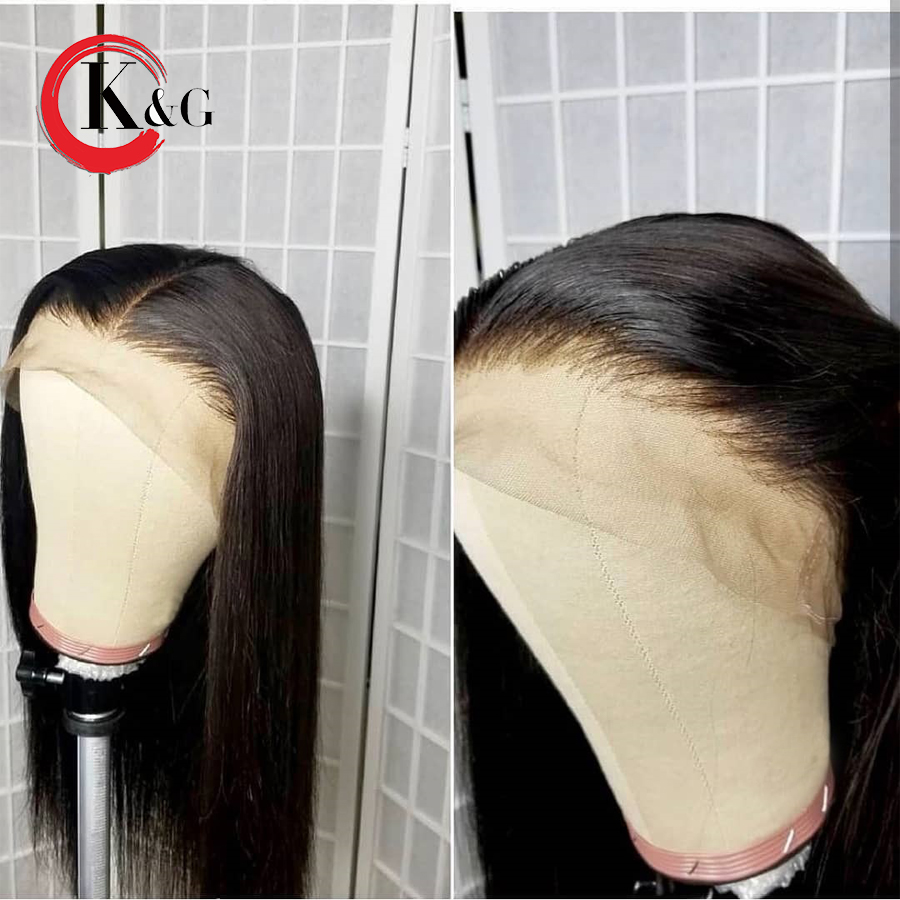 KUNGANG Lace Front Human Hair Wig Free Part Straight Brazilian Remy Human Hair Wigs Bleached Knots Pre Plucked For Women(China)