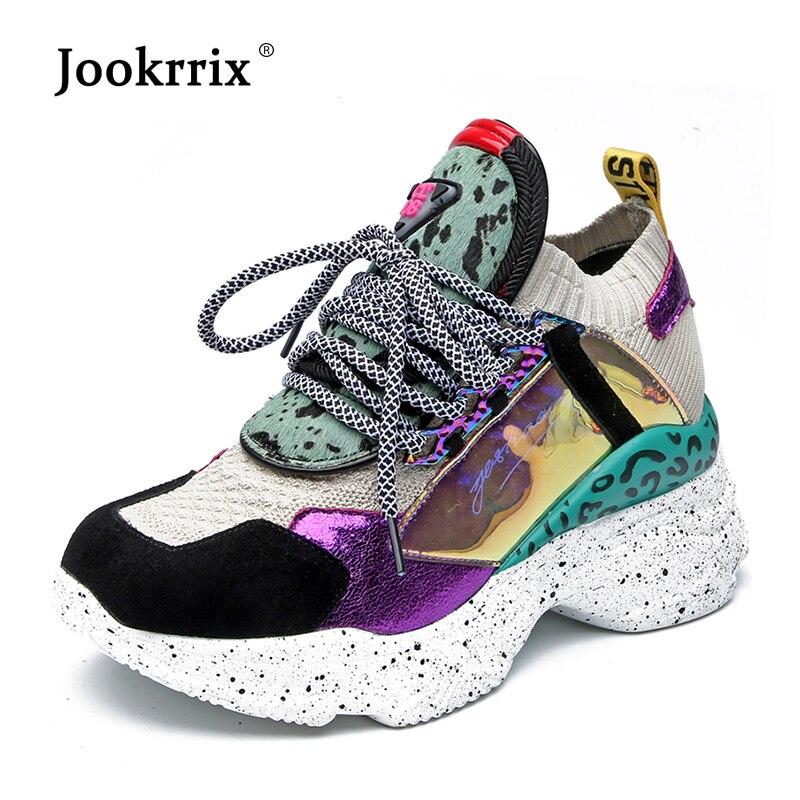Jookrrix femmes Chunky baskets femmes cheval cheveux chaussures en cuir de mode femme chaussures haute 7 CM léopard plate-forme chaussures pour dame