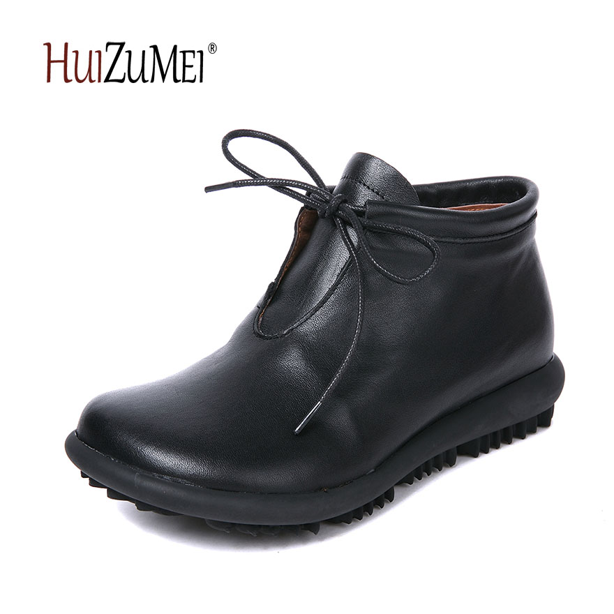 HUIZUMEI autumn new genuine leather lace up boots women retro round toe shoes women boots retro engraving and lace up design women s sweater boots