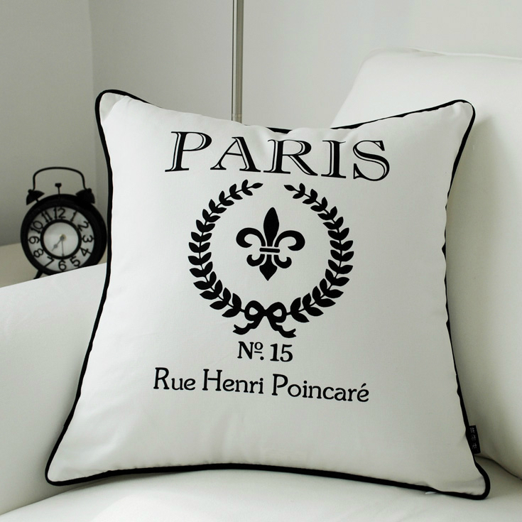 High Quality Modern Paris Decorative Cushion Cover ParisThrow Pillow Case  Canvas Black White Fashion Chic Sofa