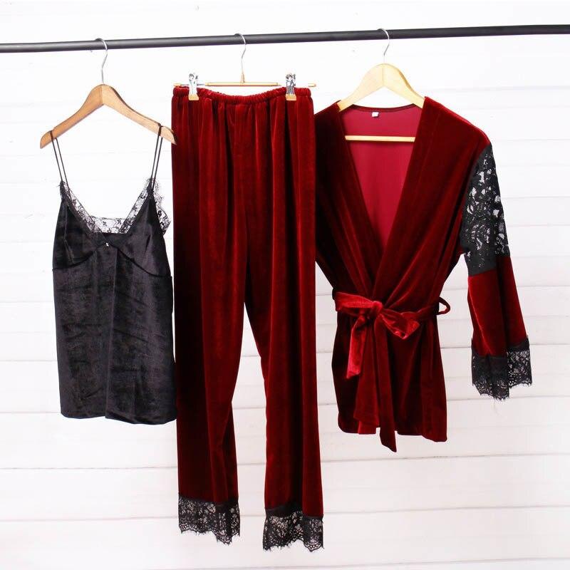 2019 New Fashion Wnter Women's Velvet Lace Pajamas Set Spaghetti Strap Blouse Long Pants Warm Home Clothes Pijamas Female Pyjama
