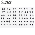 Женские маленькие серьги SLZBCY, набор из 36 пар, акриловые серьги-гвоздики со звездами для детей, вечерние ювелирные изделия на день рождения
