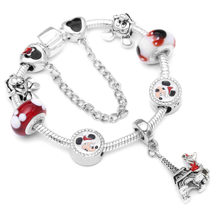 Boosbiy Mickey Minnie Charms Bracelet With Murano Glass Beads With Mickey Pendant Brand Bracelets Bangles Mother's Day Gift(China)