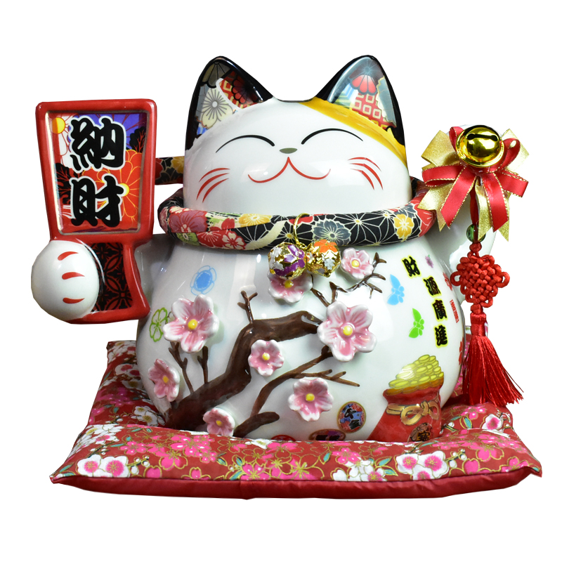 10 Inch Ceramic Maneki Neko Ornament Lucky Cat Money Box Japanese Fortune Cat Feng Shui Craft Wedding Gift R1953