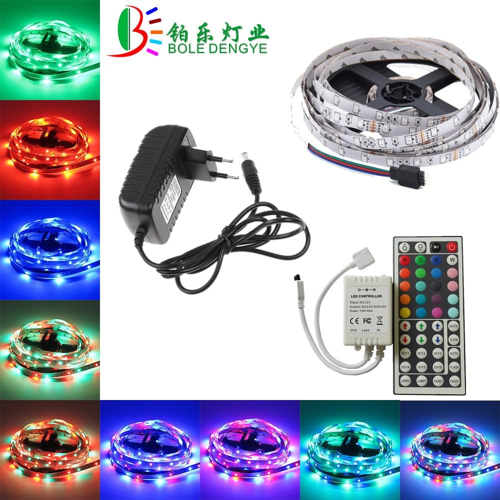 BOLEDENGYE 5M 10M LED Strip SMD 2835 12V 60 leds/m Non Waterproof Flexible RGB Tape Ribbon+IR Remote Controller+12V 2A 3A Power