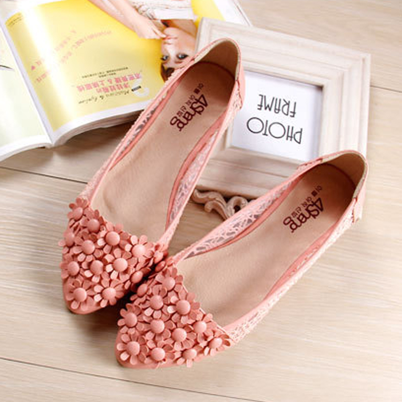 Woman Gauze Lace Flats Footwear Summer Pointed Toe Cute Shoes For Women Flowers Ballet Flats Pisos Plus Size 34-43 gold sliver shoes woman for 2016 new spring glitter bling pointed toe flats women shoes for summer size plus 35 40 xwd1841