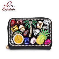 Luxury Diamond Fruit Flower Red Lips Pu Women Purse Card Holder Purse Leather Zip Wallet Coin Card Holder Card Female Clutch Bag