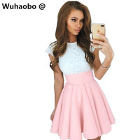 Wuhaobo Off Shoulder Ruffle Striped Summer Dress 2017 Casual Short Femmel Dress With Sashes Robe Women