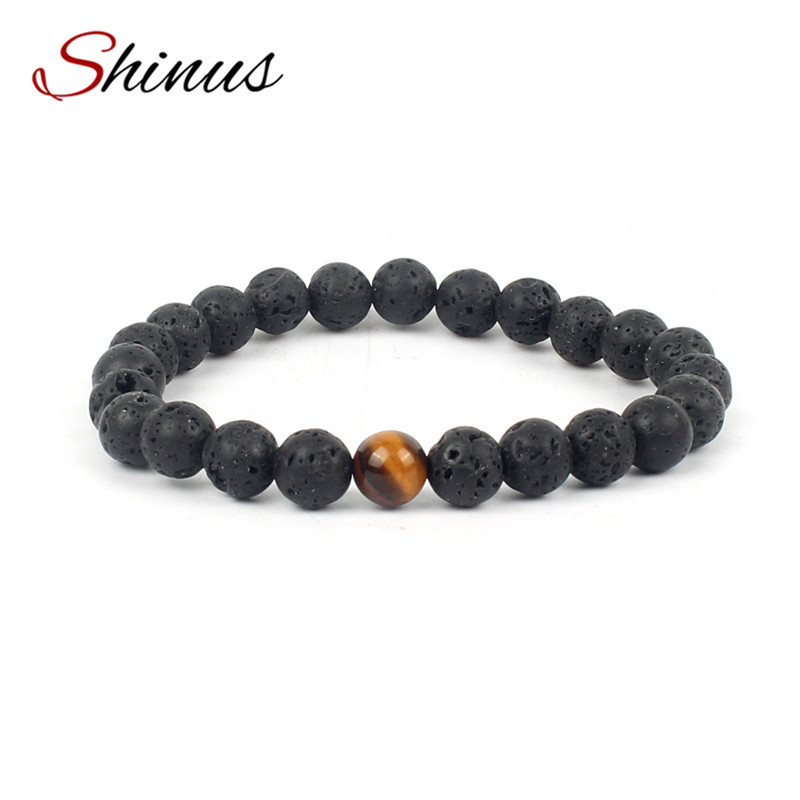 Shinus Bracelet Men Chakra Bracelets Women Meditation Jewelry Black Volcanic Rock Mala Beads Healing Femme Bijoux Fashion Trendy