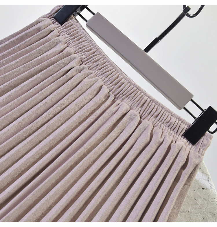 19 Two Layer Autumn Winter Women Suede Skirt Long Pleated Skirts Womens Saias Midi Faldas Vintage Women Midi Skirt 17
