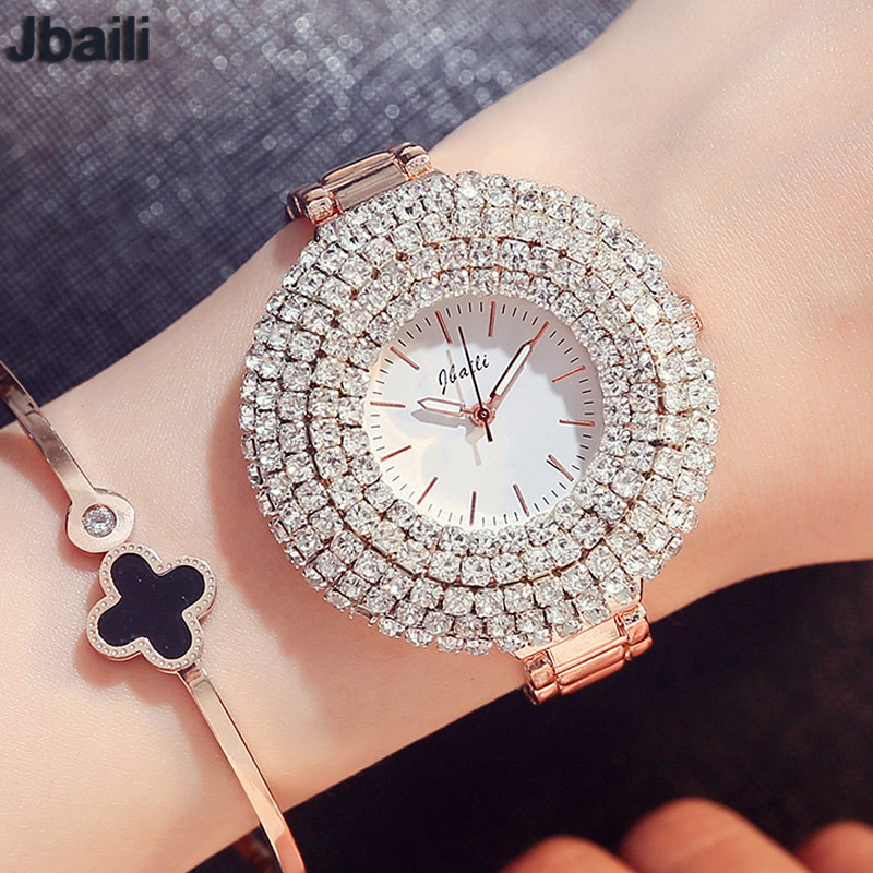 Luxury Top Brand Rose Gold Quartz Womens Watch Bling Bling Full Crystal Dial Stainless Steel Bracelet Dress Ladies Wristwatches amica luxury crystal diamond blue shell dial womens quartz watch ladies watch