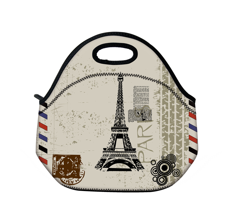 Eiffel Tower Neoprene Insulated Lunch Tote Picnic Travel