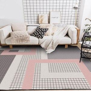Image 4 - Nordic dark สีชมพูสีเทา geometric lattice home ห้องนอน entrance ลิฟท์ชั้นโซฟากาแฟตารางพรมกันลื่น