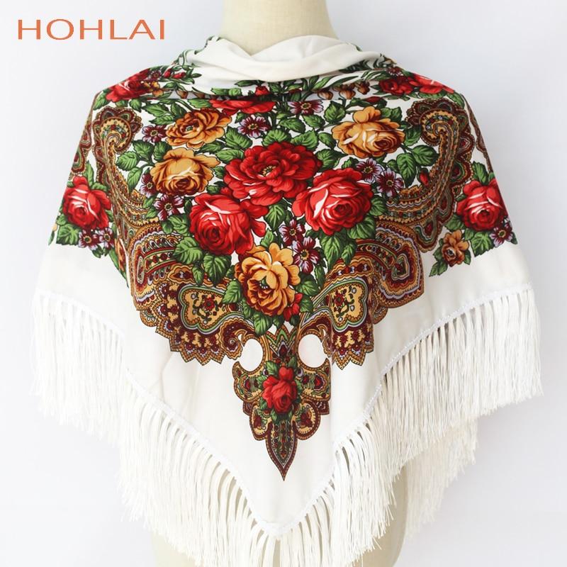 Luxus Marke Druck Oversize-platz Decken Russische Frauen Hochzeit Quaste Schal Retro Stil Baumwolle Taschentuch Herbst Schal