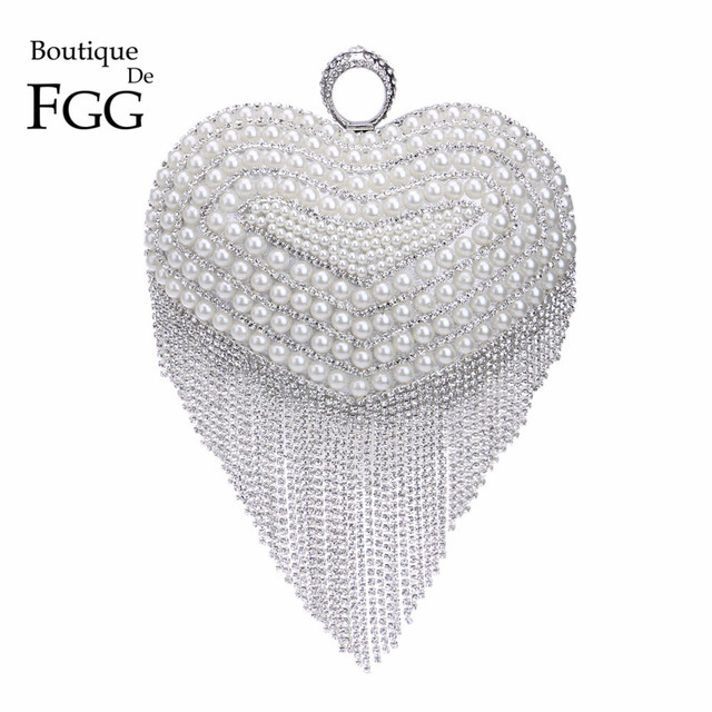 Formal Dinner Silver Crystal Tassel Women Evening Bag Knuckle Box Party  Clutch Bag Bridal Beaded Clutches f6cb7eb216db