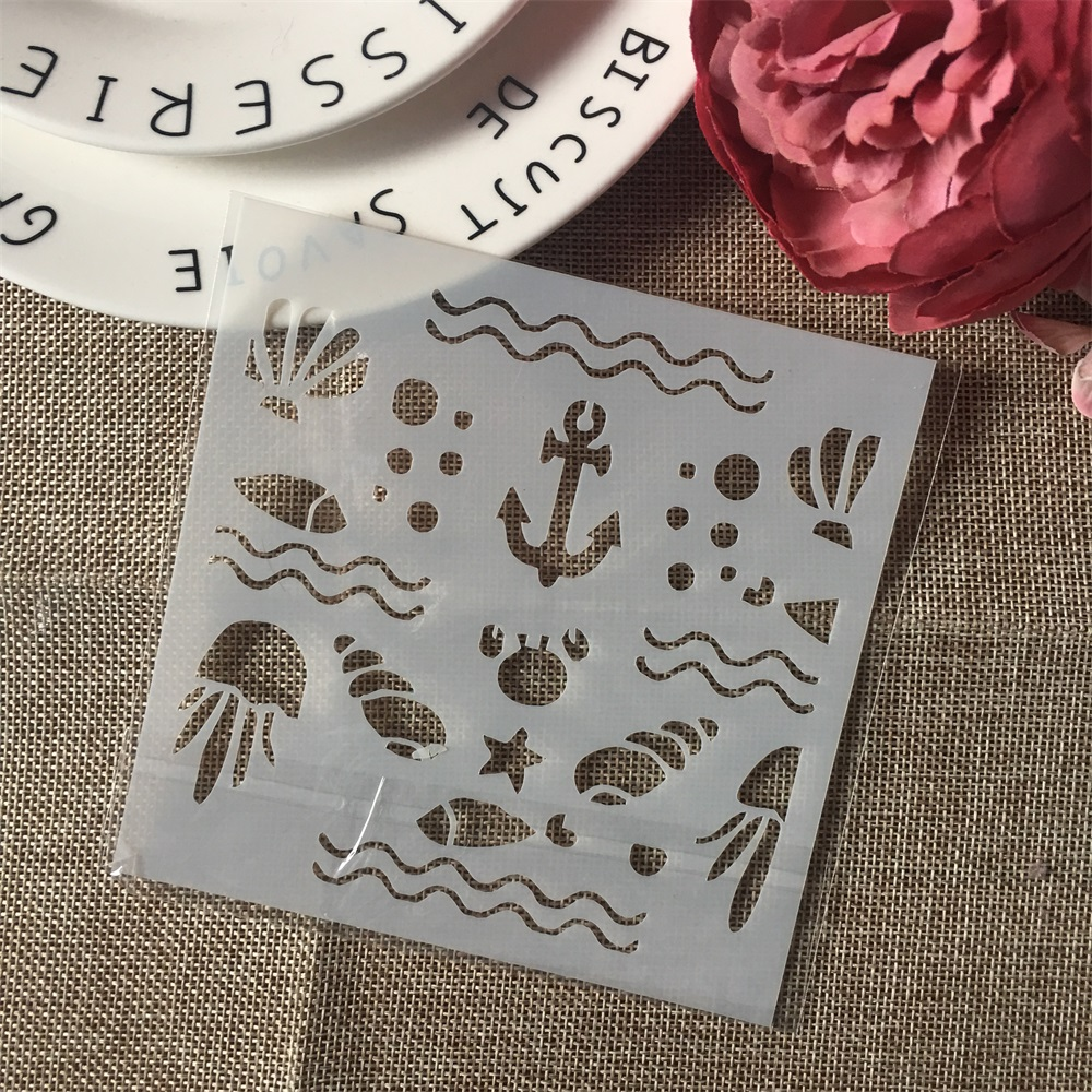 1Pcs 13cm Anchor Sea Shell DIY Craft Layering Stencils Wall Painting Scrapbooking Stamping Embossing Album Paper Card Template
