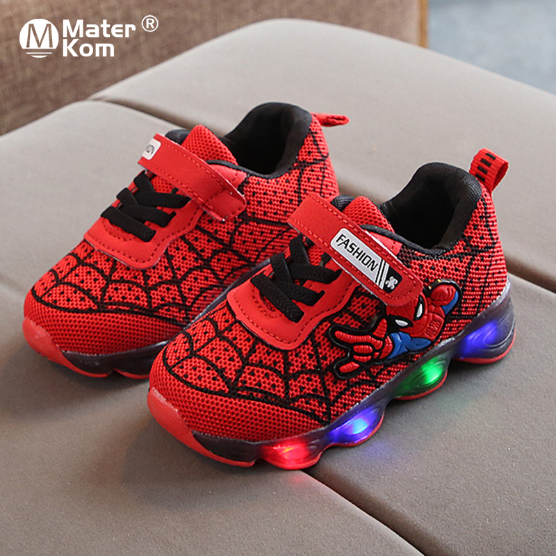 Size21-30 LED Luminous Spiderman Kids Shoes For Boys Girls Light Children Luminous Sneakers Baby Mesh Sport Boy Girl Light Shoes