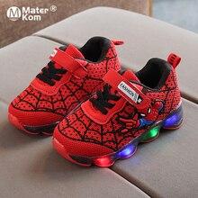 Size21-30 LED Luminous Spiderman Kids Shoes for Boys Girls L