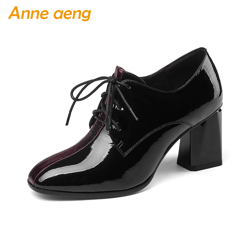 2018 New Spring/Autumn Genuine Leather Women Shoes High Heel Square Toe Lace-Up Sexy Office Ladies Women Pumps Black Women Shoes spring autumn women flats oxford derby brogue pu patent leather square toe lace up vintage sexy casual dress office ladies shoes