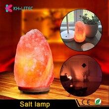 KHLITEC соляная лампа природной формы Гималайский цветной кристалл камни лампа с регулируемой яркостью резная морская соль очиститель воздуха ночной Светильник