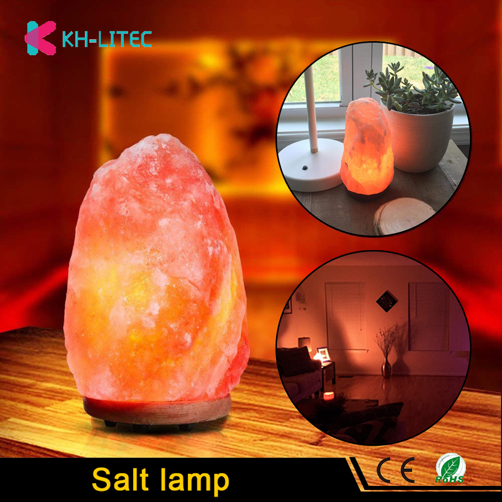 KHLITEC Salt Lamp Natural Shape Himalayan colorde Crystal Rocks Lamp Dimmable Carved Sea Salt Air Purifier Night Light