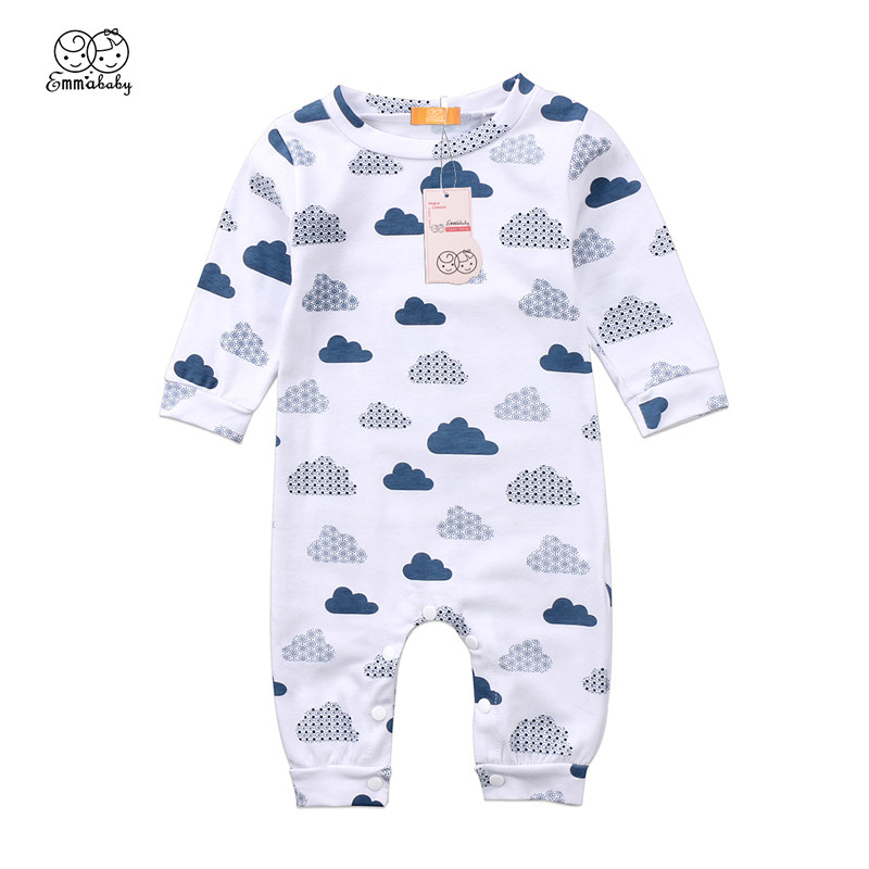 Toddler Adorable kids Newborn Boy Girl Cloud Printed Clothing bebek giyim Long Sleeve Romper Jumpsuit Clothes Outfit
