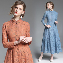 2018 Fall New Fashion Womens Stand Collar Long-sleeved Long Paragraph Large Swing Lace Dress vestidos