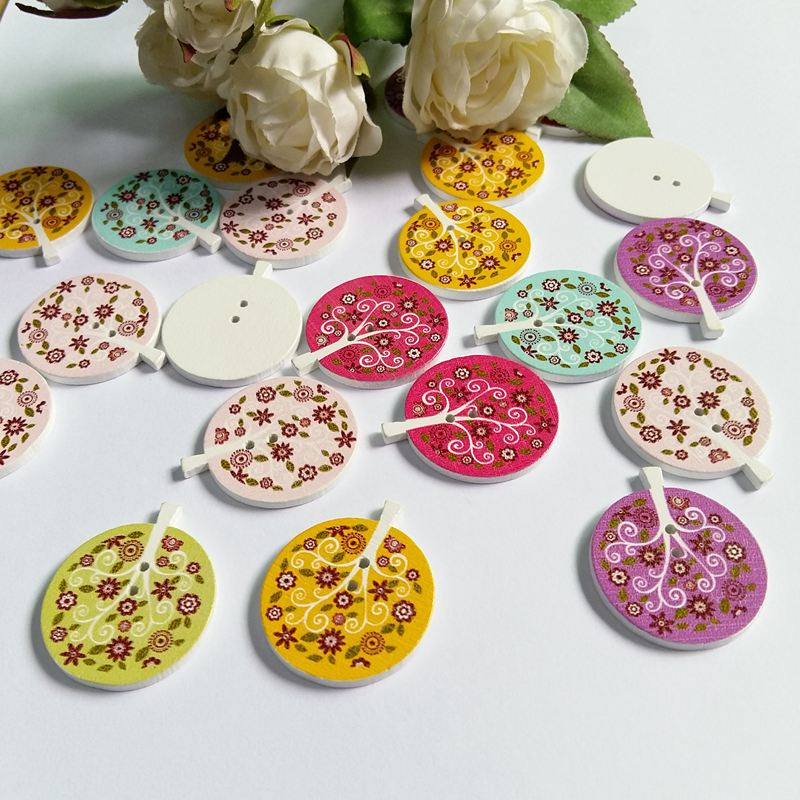 40pcs Wooden Mixed printing Trees buttons 2-holes sewing Scrapbooking 40mm