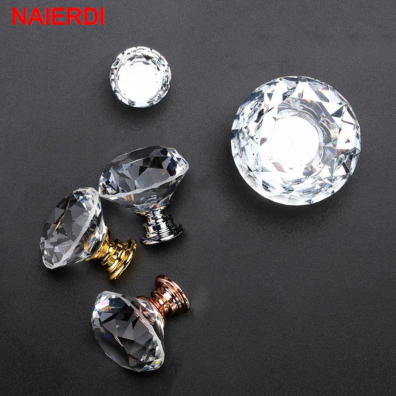 10PCS NAIERDI Diamante Botões De Vidro Cristal Alças Armário Gaveta Puxa Armário de Cozinha Porta do Armário Handle Móveis Hardware