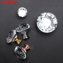 10PCS NAIERDI 20-40mm Diamond Design Crystal Glass Knobs Cupboard Drawer Pull Kitchen Cabinet Door Wardrobe Handles Hardware