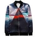 Новая мода Harajuku Стиль толстовки пальто печатных море/Геометрия 3D Куртка мужчины/женщины зима Повседневная молнии верхняя одежда топы
