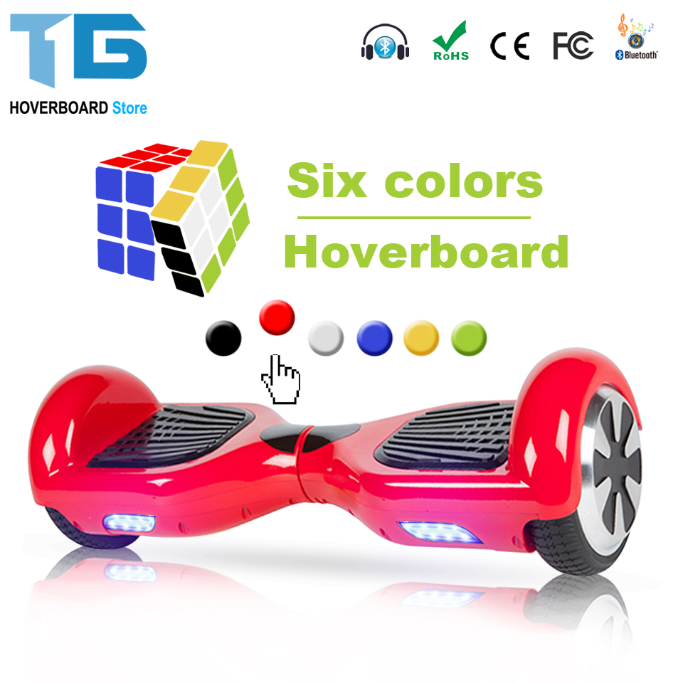 Electric Skateboard Hoverboard Self Balancing Scooter two 6.5 inch Wheel with Led Bluetooth Speaker 6.5 inch hover board 12 front wheel electric scooter kit electric scooter spare parts electric skateboard conversion kit