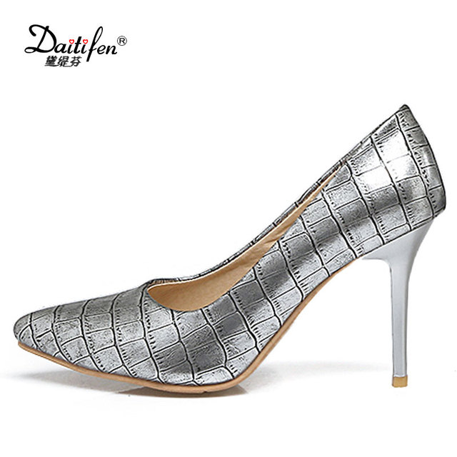 9bc83cf4c38 Daitifen 2018 Sex Women 9 cm Super High Heel Shoes Fashion Pencil Heel  Ladies Pumps Trendy Stone Women dress shoes Size 30 - 48