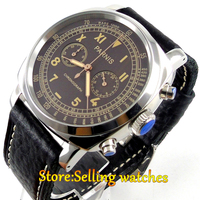 44mm Parnis coffee dial full solid case Chronograph quartz mens watch