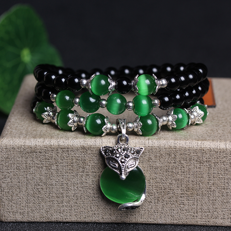 New Fashion 6mm Black Agate Beaded With Green Opal Beads Bracelets For Woman Gift Can Drop Shipping