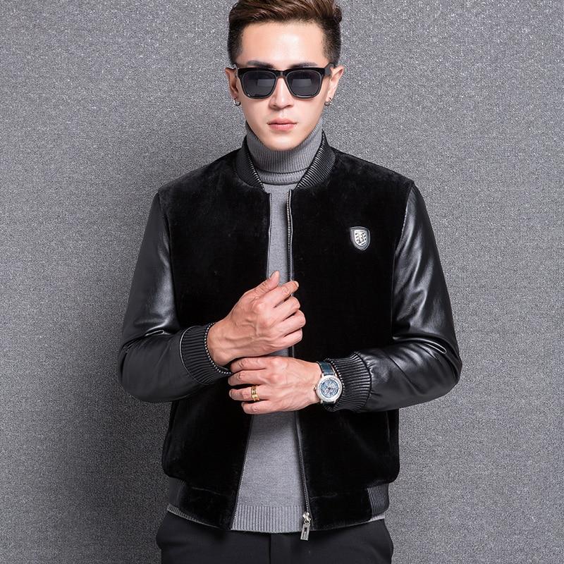 1776 New Fashion Man Cashmere Wool coat Male Leather Jacket Fur Short Overcoat
