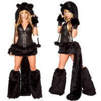 Cute sexy black vinyl cat costume with faux fur animal vinyl halloween catwomen costume w1179