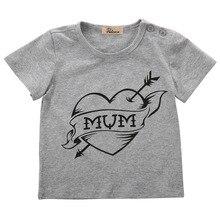 Baby Toddler Kids Boys T-Shirts Clothes Children Tops Cotton Mum Love Gray Short Tops T-shirt Summer Boys Clothing Casual