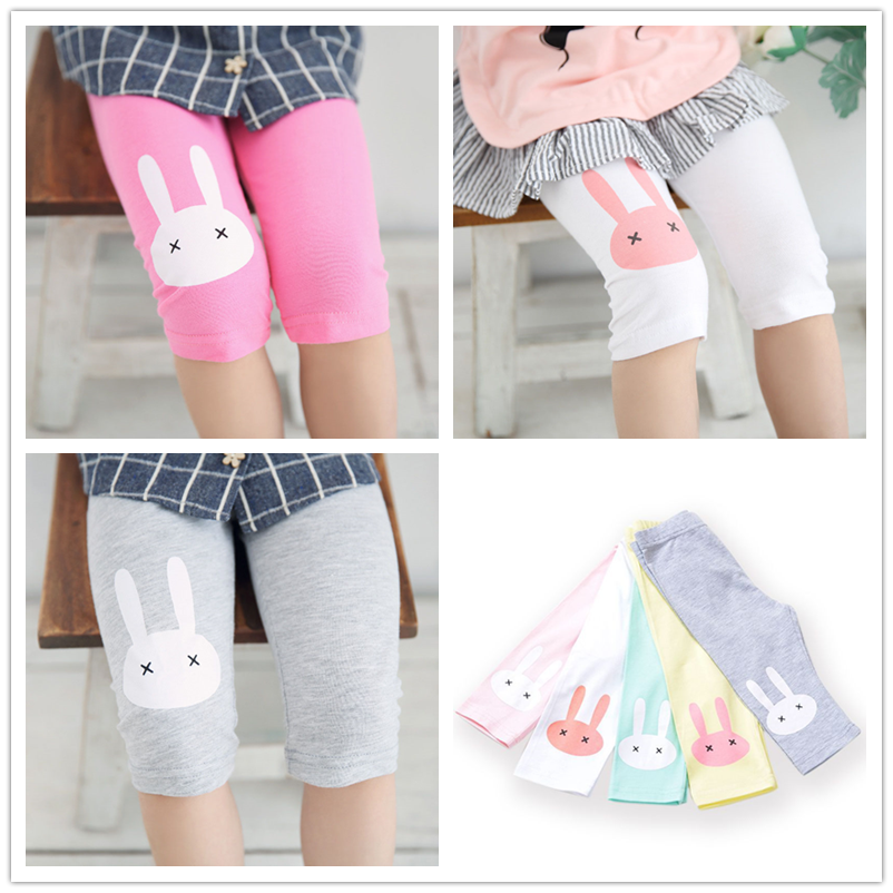 Children Girls Leggings Summer Knee Length Pants Pink Cute Printed Cartoon Rabbit Baby Girl Clothes Pants Children Kids Trousers