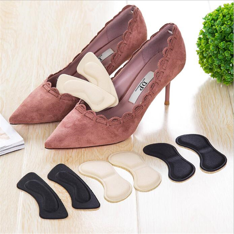 1 Pair Black Extra Sticky Fabric Shoe Heel Inserts Insoles Pads Cushion Grips