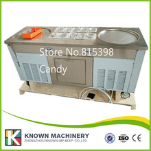 220V popular type 3 pcs compressors double round pan fried ice cream machine