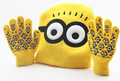 winter chapeu masculin beanies Sets Kids warm Minions Gloves +Hat Fashion New Warm Knitted Cartoon Caps Gloves